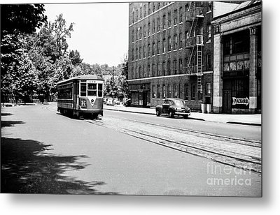 Metal Print featuring the photograph Trolley With Packard Building  by Cole Thompson