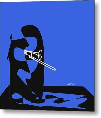 Trombone In Blue Metal Print by David Bridburg