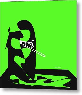 Trombone In Green Metal Print