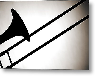 Trombone Silhouette Isolated Metal Print