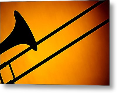 Trombone Silhouette On Gold Metal Print by M K  Miller