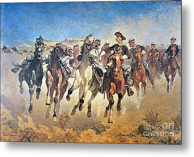Troopers Moving Metal Print by Frederic Remington