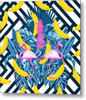 Tropical Banana Pink   Metal Print by Mark Ashkenazi