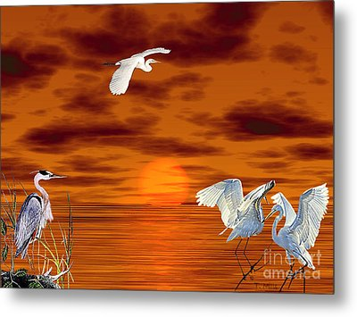 Metal Print featuring the digital art Tropical Birds And Sunset by Terri Mills