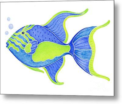 Tropical Blue Triggerfish Metal Print