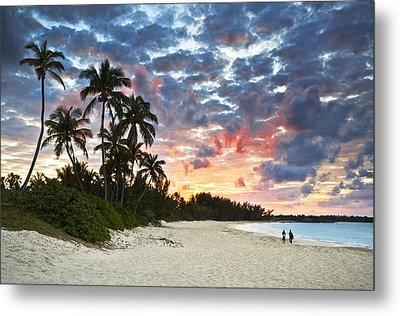 Tropical Caribbean White Sand Beach Paradise At Sunset Metal Print by Dave Allen