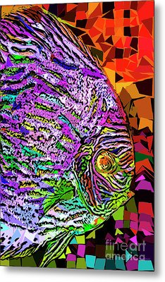 Metal Print featuring the photograph Tropical Fish Discus In Abstract 20170325v3 by Wingsdomain Art and Photography