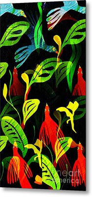 Tropical Flock Metal Print by Sarah Loft