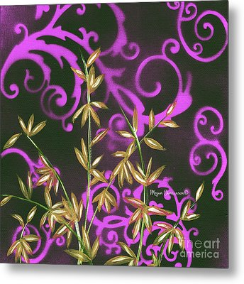 Tropical Floral Leaves Fine Art Painting In Magenta And Black By Megan Duncanson Metal Print by Megan Duncanson