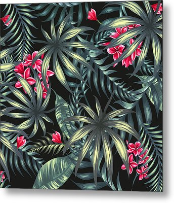 Tropical Leaf Pattern  Metal Print by Stanley Wong