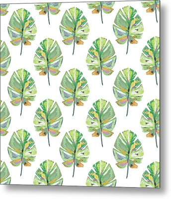 Metal Print featuring the mixed media Tropical Leaves On White- Art By Linda Woods by Linda Woods