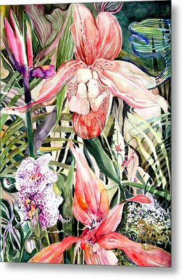 Tropical Orchids Metal Print by Mindy Newman