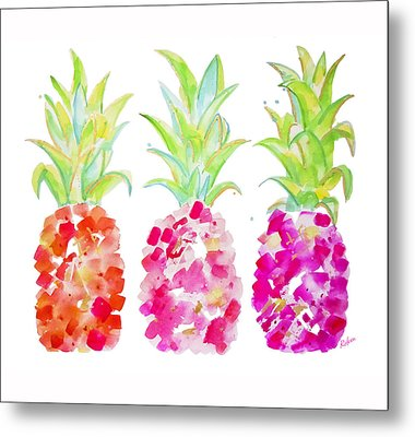 Tropical Pink And Gold Metal Print