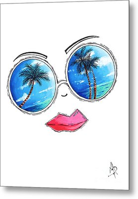 Tropical Reflection Pop Art Painting From The Aroon Melane 2015 Collection By Madart Metal Print