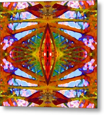 Tropical Stained Glass Metal Print by Amy Vangsgard