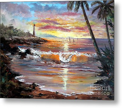 Tropical Sunset Metal Print by Lee Piper