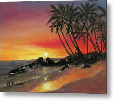Metal Print featuring the painting Tropical Sunset by Roseann Gilmore