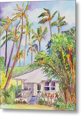 Tropical Waimea Cottage Metal Print by Marionette Taboniar