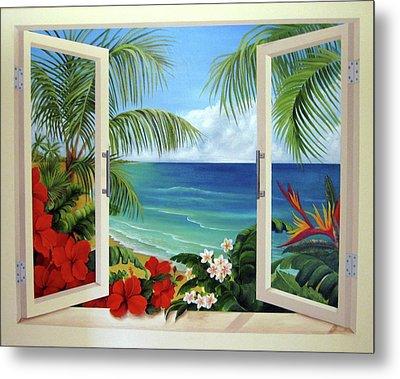 Tropical Window Metal Print
