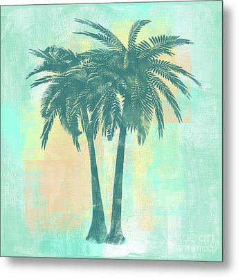 Tropicalifornia II Sponge Painted Abstract Tropical Palm Trees Metal Print by Tina Lavoie