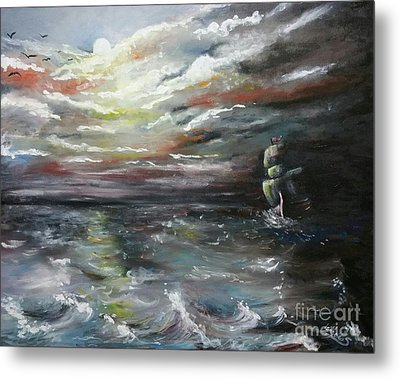 Metal Print featuring the painting Troubled Waters Complete by Isabella F Abbie Shores FRSA