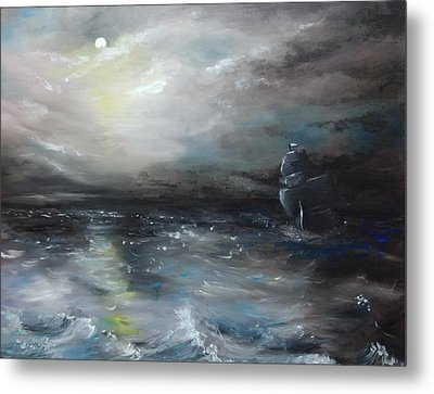 Metal Print featuring the painting Troubled Waters by Isabella F Abbie Shores FRSA
