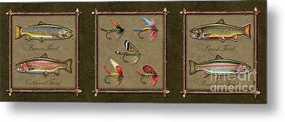 Trout Fly Panel Metal Print by Jon Q Wright
