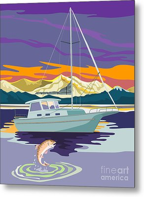 Trout Jumping Boat Metal Print by Aloysius Patrimonio