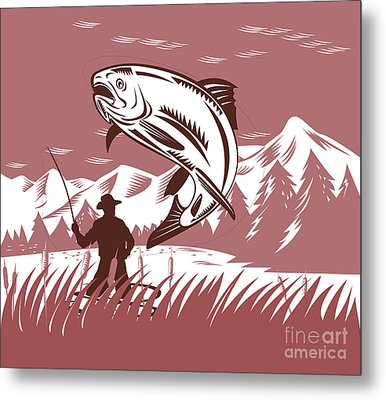 Trout Jumping Fisherman Metal Print by Aloysius Patrimonio
