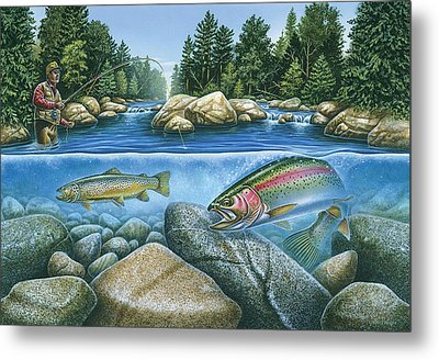 Trout View Metal Print by JQ Licensing