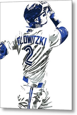 Troy Tulowitzki Toronto Blue Jays Pixel Art 2 Metal Print by Joe Hamilton