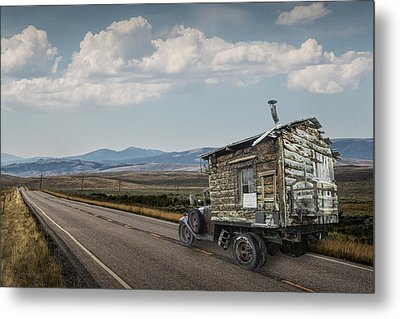Truck Motor Home Traveling On The Road Metal Print by Randall Nyhof