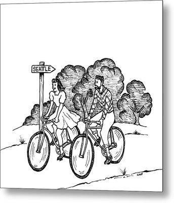 True Romance Seattle Bike Ride Metal Print by Karl Addison