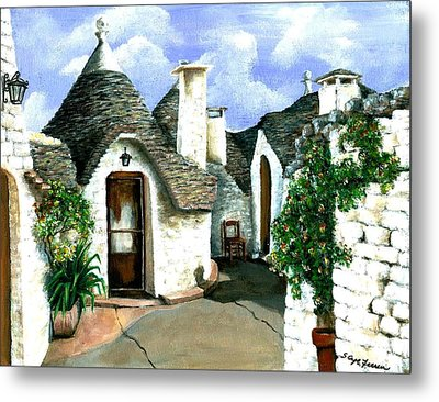 Metal Print featuring the painting Trulli by Sarah Farren