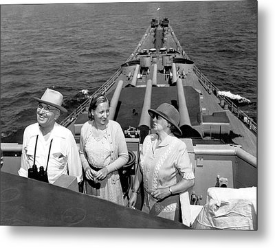 Truman Family At Sea Metal Print by Underwood Archives