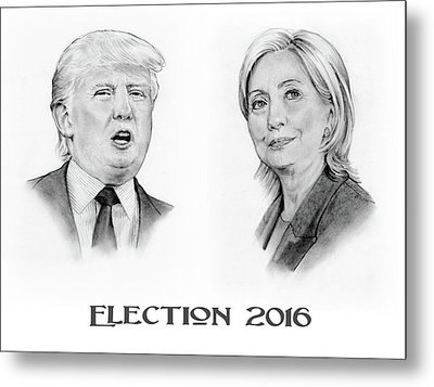 Trump And Hillary Pencil Portraits Election 2016 Metal Print by Joyce Geleynse