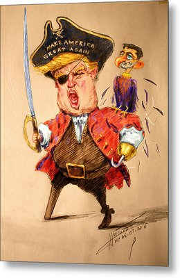 Trump, The Short Fingers Pirate With Ryan, The Bird Metal Print