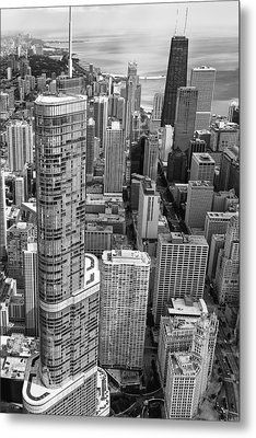 Metal Print featuring the photograph Trump Tower And John Hancock Aerial Black And White by Adam Romanowicz