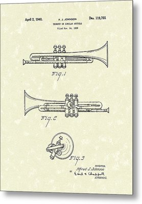 Trumpet 1940 Patent Art Metal Print by Prior Art Design
