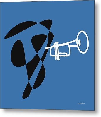 Metal Print featuring the digital art Trumpet In Blue by Jazz DaBri