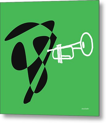 Metal Print featuring the digital art Trumpet In Green by Jazz DaBri