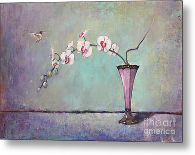 Trumpet Vase And Orchid  Metal Print by Lori  McNee