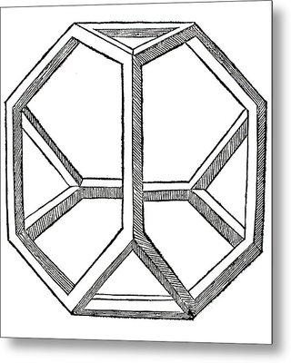 Truncated Tetrahedron With Open Faces  Tetraedron Abscisum Vacuum Metal Print by Leonardo da Vinci
