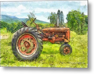 Trusty Old Red Tractor Pencil Metal Print by Edward Fielding