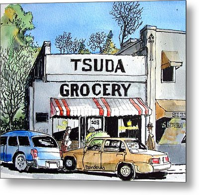 Metal Print featuring the painting Tsuda Grocery by Terry Banderas