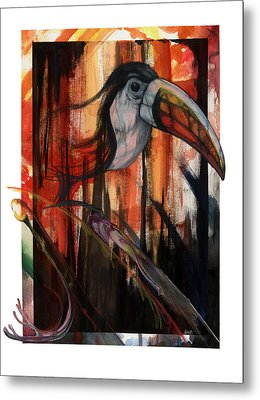 Metal Print featuring the mixed media Tucan by Anthony Burks Sr