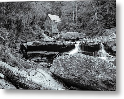 Tucked Away - Black And White Old Mill Photography Metal Print by Gregory Ballos
