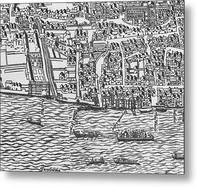 Tudor Map Showing Detail Of The River Thames Metal Print