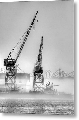Tug With Cranes Metal Print