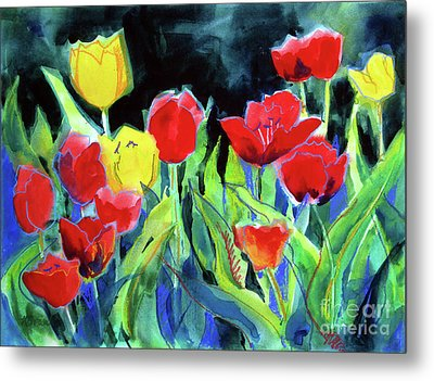 Metal Print featuring the painting Tulip Bed At Dark by Kathy Braud